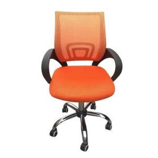 An Image of Regan Home Office Chair In Orange With Mesh Back And Chrome Base