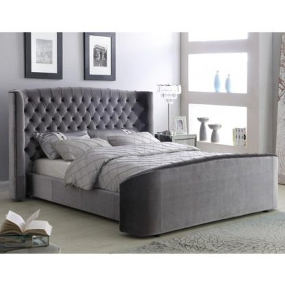 An Image of Oregon Velvet Upholstered Double Bed In Silver