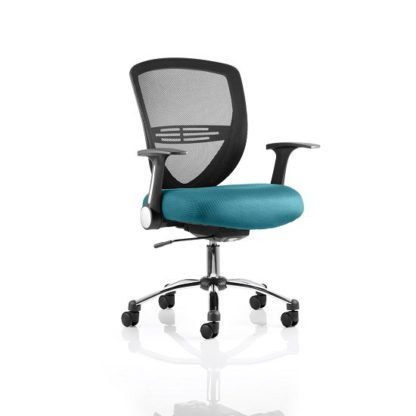 An Image of Avram Home Office Chair In Kingfisher With Castors