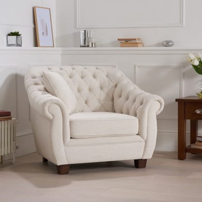 An Image of Sylvan Chesterfield Style Fabric Sofa Chair In Ivory