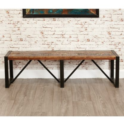 An Image of London Urban Chic Wooden Large Dining Bench With Steel Base