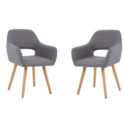 An Image of Porrima Grey Dining Chair With Wooden Legs In Pair