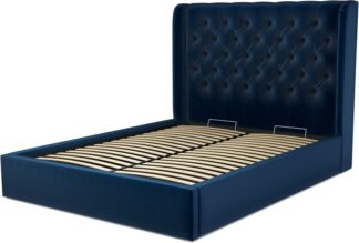 An Image of Custom MADE Romare King size Bed with Ottoman, Regal Blue Velvet