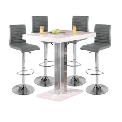 An Image of Palzo Bar Table In White High Gloss With 4 Ripple Grey Stools