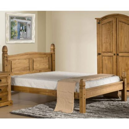 An Image of Corona Wooden Low End Small Double Bed In Waxed Pine