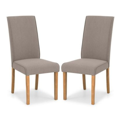 An Image of Seville Taupe Linen Fabric Dining Chair In Pair
