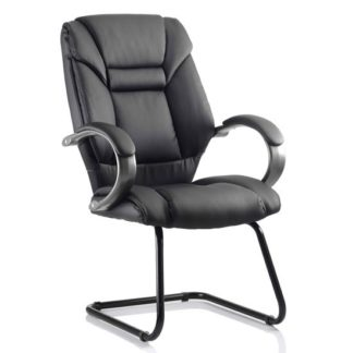 An Image of Galloway Leather Cantilever Office Chair In Black With Arms