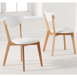 An Image of Citala Oak And White Faux Leather Dining Chairs In Pair