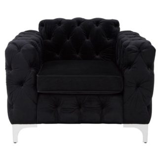 An Image of Guniibuu Hard Wood Chesterfield Lounge Chaise Chair In Black Vel