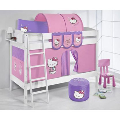 An Image of Jelle Hello Kitty Children Bunk Bed In White With Curtains