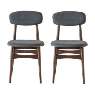 An Image of Barcelona Grey Finish Dining Chairs In Pair