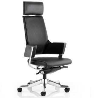 An Image of Cooper Office Chair In Black Bonded Leather With High Back