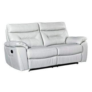 An Image of Tiana Contemporary Recliner 3 Seater Sofa In Putty Faux Leather