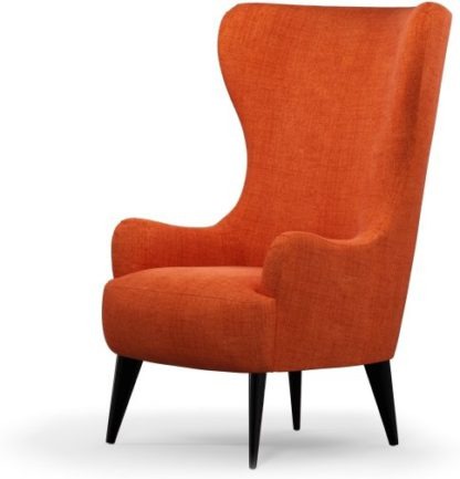 An Image of Custom MADE Bodil Accent Armchair, Rust Orange with Black Wood Leg