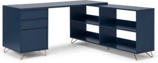 An Image of Elona Corner Desk with Open Sideboard, Dark Blue & Copper