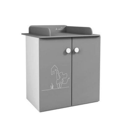 An Image of Kelby Chest Of Drawers In Pearl White And Grey With Changing Top