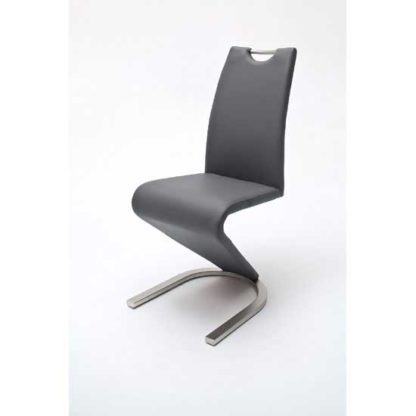 An Image of Amado Z Grey Faux Leather Metal Swinging Dining Chair