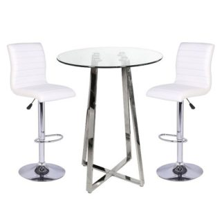 An Image of Poseur Bar Table In Clear Glass With 2 Ripple White Bar Stools