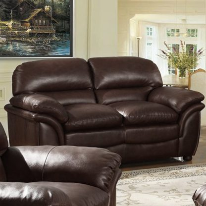 An Image of Fernando Full Bonded Leather 2 Seater Sofa In Brown