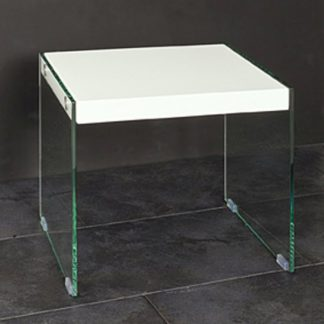 An Image of Olymp High Gloss Top Side Table With Glass Legs
