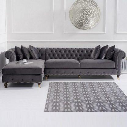 An Image of Nesta Chesterfield Left Corner Sofa In Grey Velvet