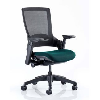 An Image of Molet Black Back Office Chair With Maringa Teal Seat