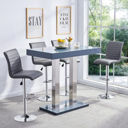 An Image of Caprice Glass Bar Table In Grey Gloss With 4 Ripple Stools