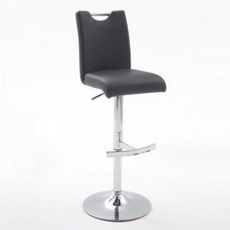 An Image of Aachen Black Faux Leather Seat Gas Lift Bar Stool