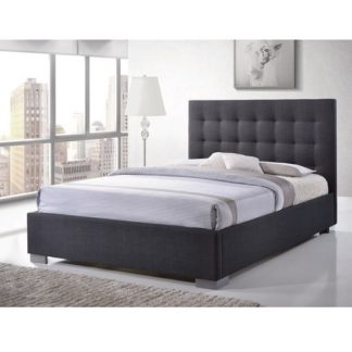 An Image of Addison Fabric King Size Bed In Grey With Chrome Feet