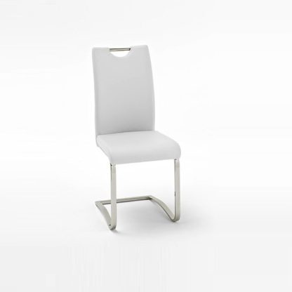 An Image of Koln Dining Chair In White Faux Leather With Chrome Legs