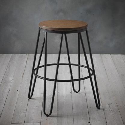 An Image of Ikon Black Metal Hairpin Leg Bar Stool With Wooden Seat
