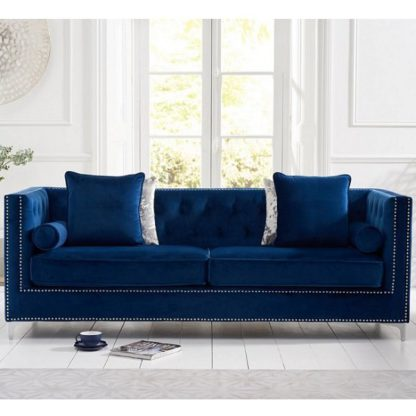 An Image of Mulberry Modern Fabric 4 Seater Sofa In Blue Velvet
