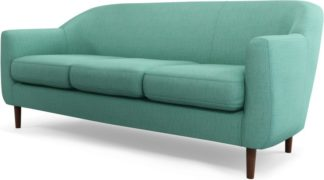 An Image of Custom MADE Tubby 3 Seater Sofa, Soft Teal with Dark Wood Legs