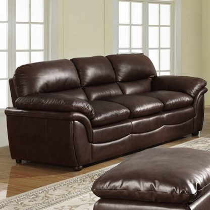 An Image of Fernando Full Bonded Leather 3 Seater Sofa In Brown