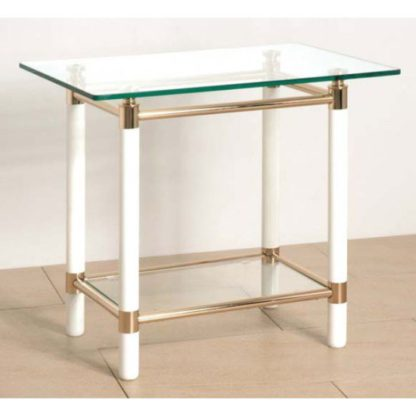 An Image of Palaccio Gold Plated Gloss White Occasional Tables