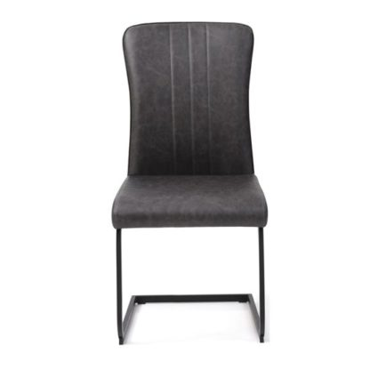 An Image of Duplex PU Dining Chair In Antique Grey
