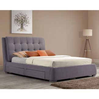 An Image of Mayfair Fabric King Size Bed In Grey With 4 Drawers