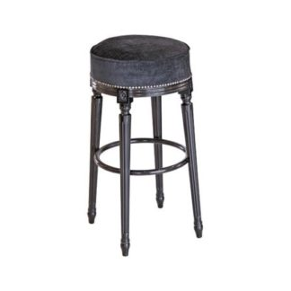 An Image of Georgian Bar Stool In Velvet Style Seat With Fluted Legs
