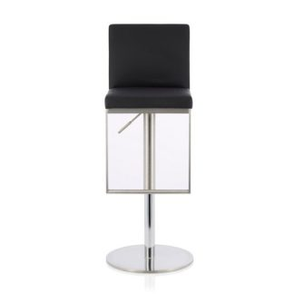 An Image of Cuban Bar Stool In Black Faux Leather And Stainless Steel Base