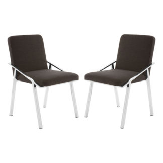 An Image of Markeb Black Fabric Dining Chair In Pair