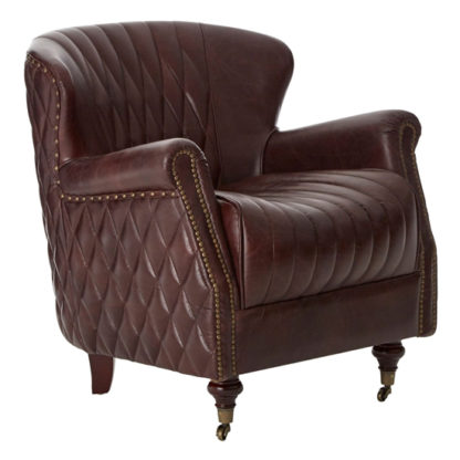 An Image of Sadalmelik Leather Winged Armchair In Coffee Brown