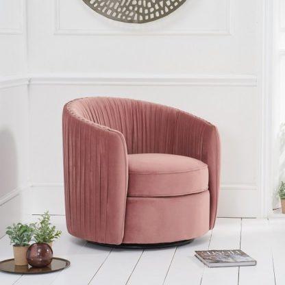 An Image of Pavos Tub Design Velvet Swivel Lounge Chair In Blush Pink