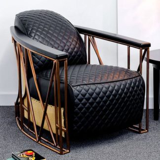 An Image of Arcelia Faux Leather Leisure Arm Chair In Black