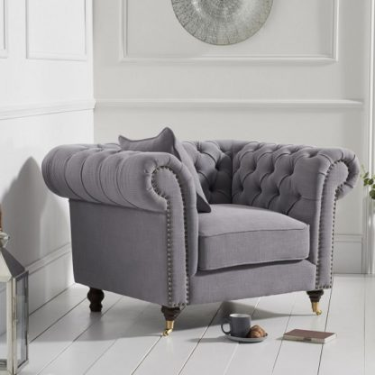 An Image of Holbrook Chesterfield Sofa Chair In Grey Linen
