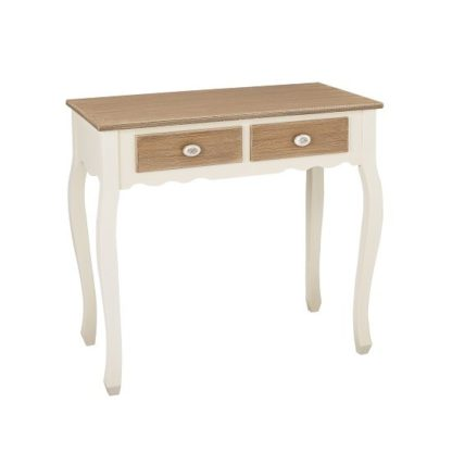 An Image of Julian Console Table In Distressed Wooden Top And Cream Legs