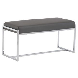 An Image of Soho Small Faux Leather Dining Bench In Grey