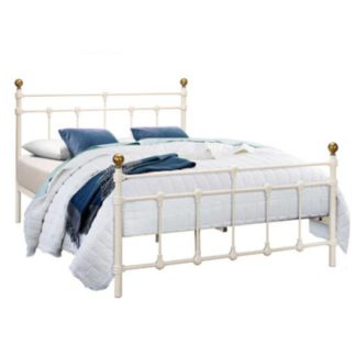 An Image of Atlas Steel Single Bed In Cream