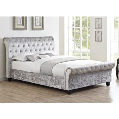 An Image of Casablanca Crushed Velvet Double Bed In Grey