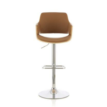 An Image of Finnley Bar Stool In Oak And Beige PU With Chrome Base
