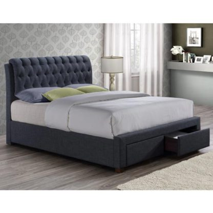An Image of Valentino Fabric King Size Bed In Charcoal With 2 Drawers